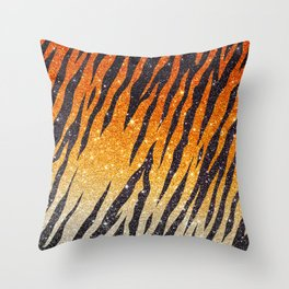 Tiger Shout Glitter Stripe Throw Pillow