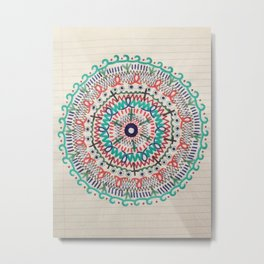 Pin Wheel Mandala Metal Print