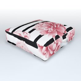 Simply Drawn Stripes and Roses Outdoor Floor Cushion