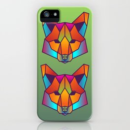 Fox   Geometric Colorful Low Poly Animal Set iPhone Case