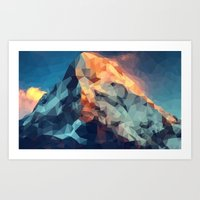 low poly Art Prints featuring Mountain low poly by Li9z