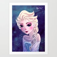 frozen elsa Art Prints featuring Elsa Frozen by Kaori