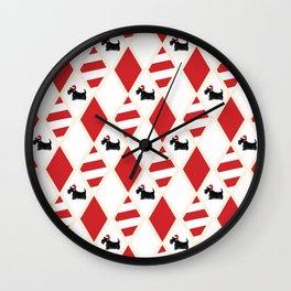 Scottie Dog Christmas Pattern Wall Clock