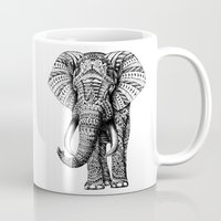 solid color Mugs featuring Ornate Elephant by BIOWORKZ