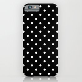Licorice Black with White Polka Dots iPhone Case