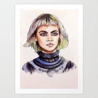 marc jacobs Art Prints featuring Cara/Marc Jacobs 2014 by vooce & kat