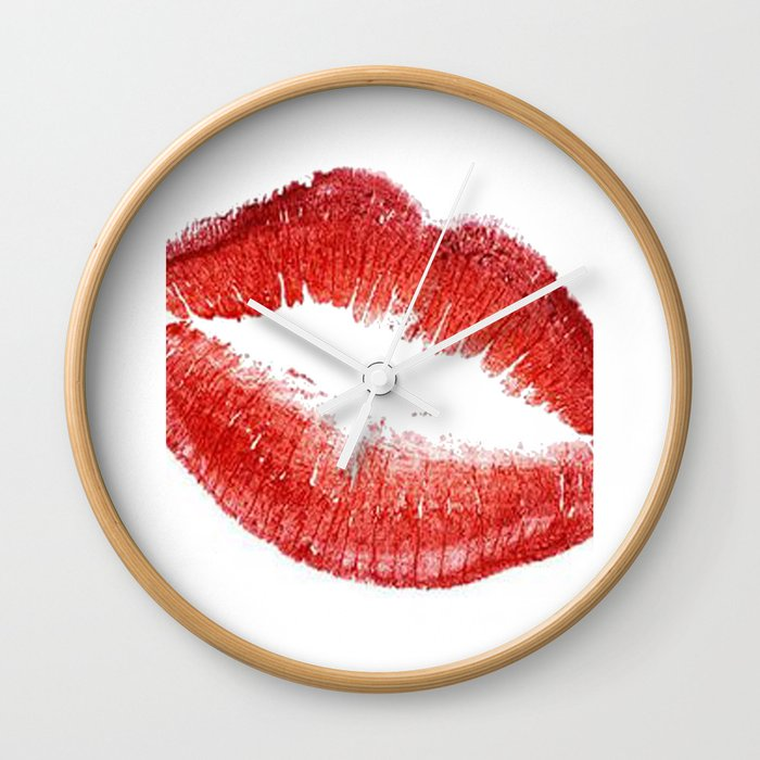 Red Lips Red Lipstick Gift Idea Fashioni Illustration Fashion Print Fashionista Home Art Gift Women Wall Clock By Micheltypography