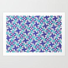 Teal and Purple Stars Art Print