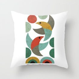 Landscape with birds Throw Pillow