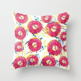 Donut kitty pattern Throw Pillow