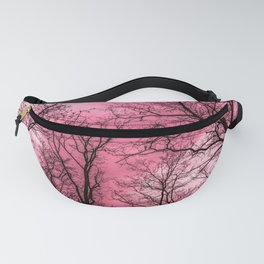 Creepy forest, pink sky Fanny Pack