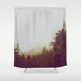 Olive Green Sepia Misty Pine Forest Landscape Photography Parallax Trees Shower Curtain