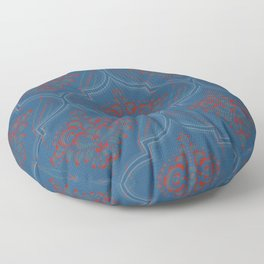 Moroccan pattern: Blue and coral design Floor Pillow