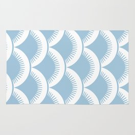 Japanese Fan Pattern Pale Blue Rug