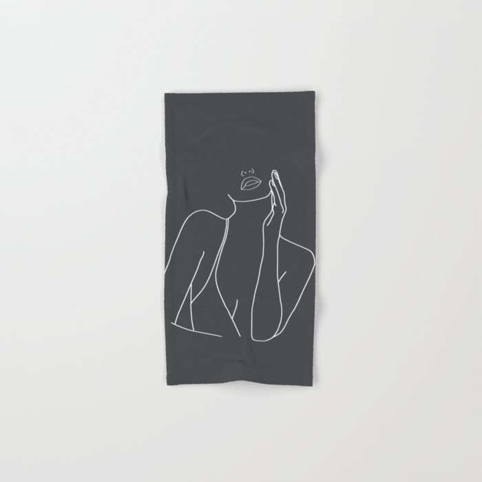 Minimal Line Art of a Woman Hand & Bath Towel
