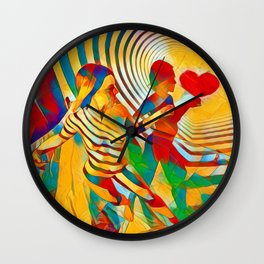 7586s-MM Red Shadow Heart Catch Cherish Set Free Abstract Romantic Love Wall Clock
