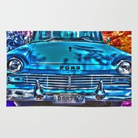 cuba Area & Throw Rugs featuring 1950's Cuba Ford by Brian Raggatt