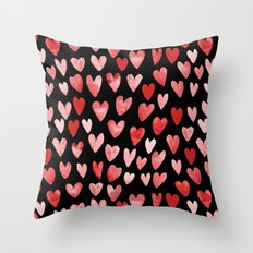 Watercolor Hearts pattern black red and pink minimal valentines day perfect gift for love Throw Pillow