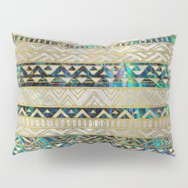 Tribal Ethnic  Pattern Gold on Abalone Shell and Pearl Pillow Sham