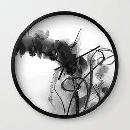 Flowers in black Wall Clock