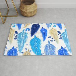 Watercolor Macrame Feathers + Dots in Blue Rainbow Rug