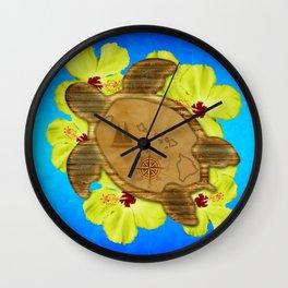 Hawaiian Turtle And Nautical Map Wall Clock