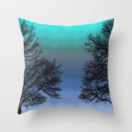 Two Trees One Swan Throw Pillow