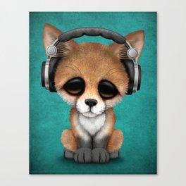 Cute Red Fox Cub Dj Wearing Headphones on Blue Canvas Print