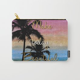 """""""Make today beautiful"""" gold quote, watercolor abstract summer sea colors Carry-All Pouch"""