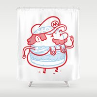 mario Shower Curtains featuring Cheeseburger Mario by Philip Tseng