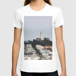 Streets Of San Francisco With Coit Tower T-shirt