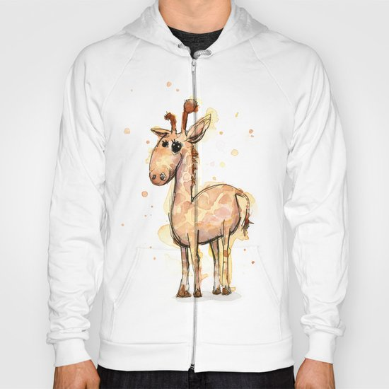 Giraffe Funny Watercolor Painting  Hoody