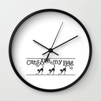 tote bag Wall Clocks featuring Cats are my Bag by Spiral Envy