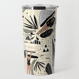 girls floating with plants (colour) Travel Mug