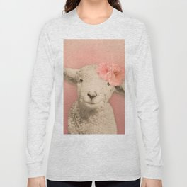 Flower Sheep Girl Portrait, Dusty Flamingo Pink Background Long Sleeve T-shirt