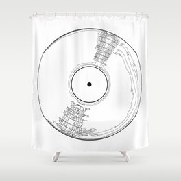Record Label Sketch Shower Curtain