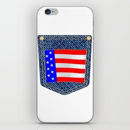 Stars and Stripes Denim Pocket iPhone Skin