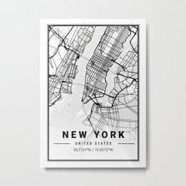 New York Light City Map Metal Print