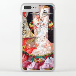Two Face Girl Clear iPhone Case