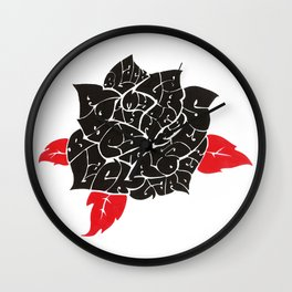 Black Roses in my garden Wall Clock
