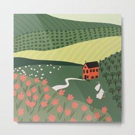 Idyllic Orchard Landscape Metal Print