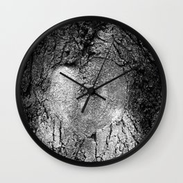 Natural Heart Shape in Tree Bark Black and White Wall Clock