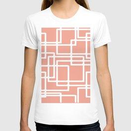 Retro Modern White Rectangles On Coral T-shirt