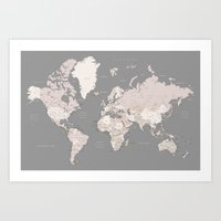 World map in taupe and brown,
