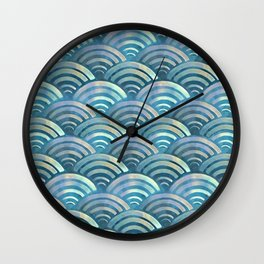 Blue fish scales pattern Wall Clock