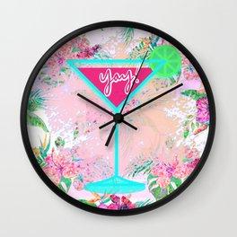 Neon Cocktail Tropics Wall Clock