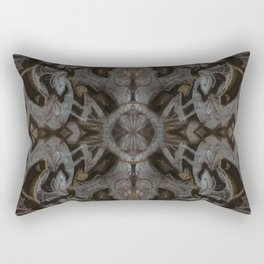 Curves & lotuses, black, brown and taupe Rectangular Pillow