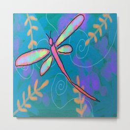 Funky Dragonfly Abstract Digital Painting Metal Print