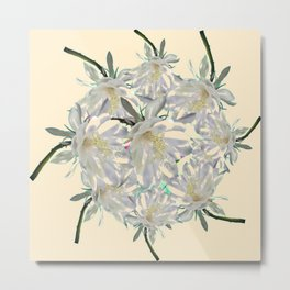 WHITE  NIGHT BLOOMING TROPICAL CEREUS  ON CREAM ART Metal Print