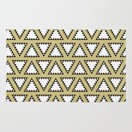 Gold, white and black geometric triangle pattern. Manchester Architecture Collection Rug